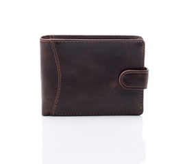 Mens brown wallet on a white background