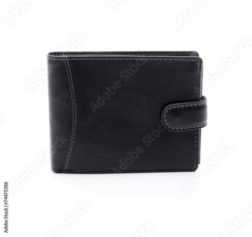 Mens black wallet on a white background - 74475386