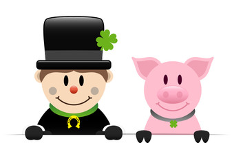 Chimney Sweeper & Pig Holding Banner