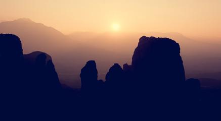 Silhouette of famous sandstone rocks in Meteora