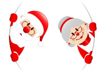 Santa & Wife Round Banner