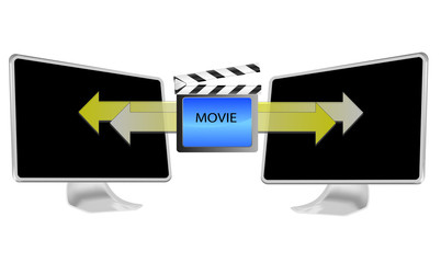 Illustration of streaming movie on pc isolated