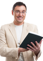 smiling man with a  book