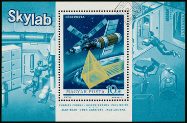 Stamp printed in Hungary shows Skylab
