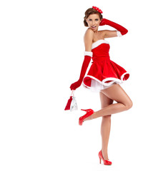 beautiful sexy girl wearing santa claus clothes
