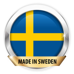 made in sweden silver badge isolated button