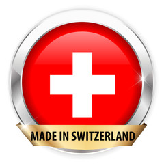 made in switzerland silver badge isolated button