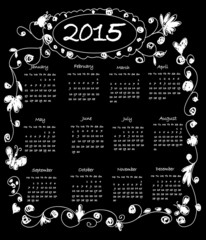Kids Chalk Doodles Calendar 2015