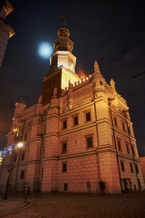city hall and noon in Poznan by night.