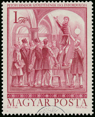 Stamp printed in Hungary shows famous Hungarian poet Sandor Peto