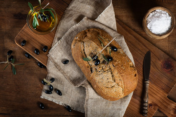 Mediterranean homemade olive bread, top view