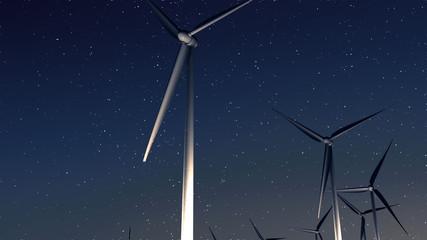 wind turbines(night)