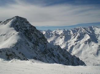 wintertime snow mountains in austria soelden  skiing landscape