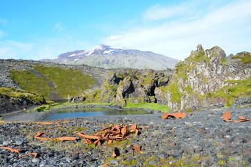 Исландия, Снайфетльснес, обломки разбившегося о скалы корабля