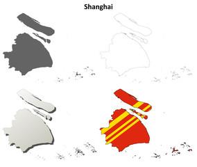 Shanghai blank outline map set
