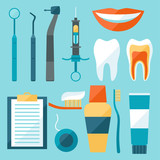 Medical dental equipment icons set in flat style. - 74479731