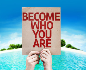 Become Who You Are card with a beach
