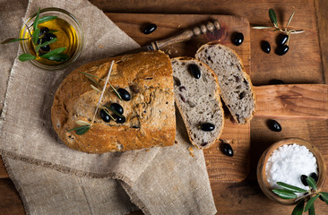 Sliced homemade olive bread, top view