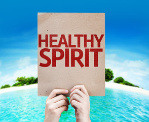 Healthy Spirit card with a beach on background
