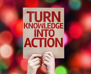 Turn Knowledge Into Action card with colorful background