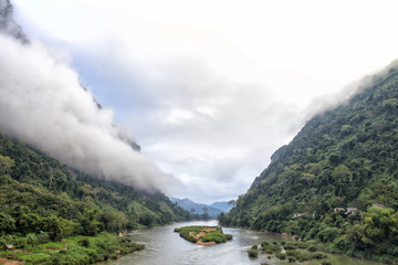 Ou River in the morning in Nong Khiaw, Laos