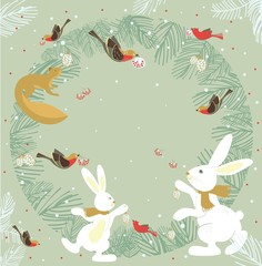 Christmas card with  wild animals and bird