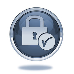 Lock pointer icon on white background