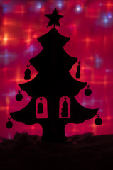 Silhouette of toy chritmas tree