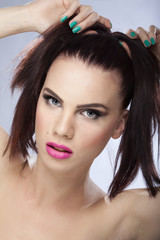 beautiful girl with perfect makeup