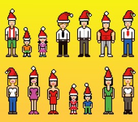 pixel art people in xmas santa claus hats isolated background