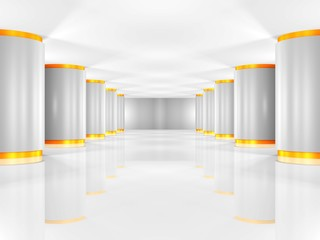 langer leerer Gang mit Säulen