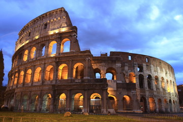 twilight view of ancient Roman ruins, Italy
