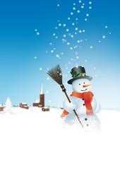 Schneemann, Winter, Winterdienst, Besen, Dorf, Landschaft, Snow