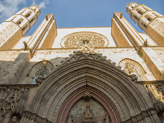 Gothic Catholic Cathedral Facade Steeples Barcelona Catalonia Sp