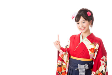 japanese woman wearing kimono showing