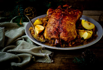 the duck baked with sauerkraut.