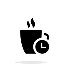 Coffe cup with Time simple icon on white background.