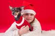Christmas portrait with small dog and girl