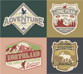 Grunge Wildlife exploration vintage patches