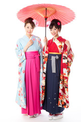 japanese women wearing kimono on white background