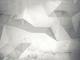 Abstract white 3d interior with polygonal pattern on wall