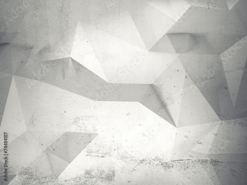 Abstract white 3d interior with polygonal pattern on wall - 74484187