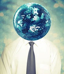 Abstract disco man in white shirt and tie with mirror ball