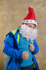 Casual boy with Santa costume