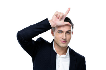 Portrait of a happy businessman gesturing on a white background