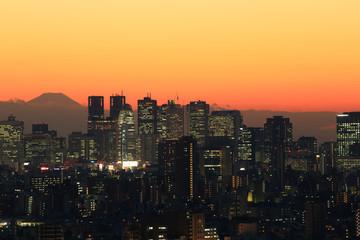 富士山と東京都心の風景 夕景