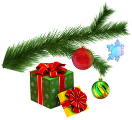 Christmas tree fir branch with gifts