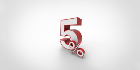 3D rendering of a red and white 5 percent letters