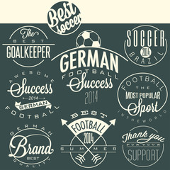 Retro vintage style soccer emblem collection