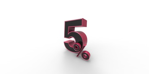 3D rendering of a pink and black 5 percent letter